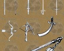 Medieval Weapons Swords Crossbow Flail Digital Graphic Download Vintage Antique Illustration Clipart Clip Art Design Elements Black