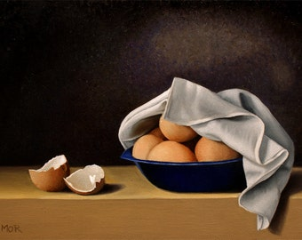 Blue Bowl with Eggs original oil painting daily painting