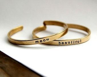 Customized Bracelet - Personalized Name Cuff Bracelet - Customizable Message - Word Bracelet - Engraved Bracelet