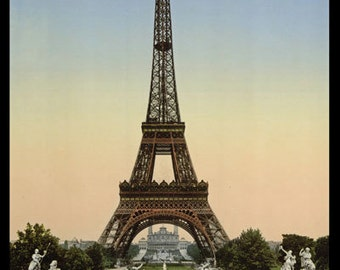 PH04 Vintage 1890's Photochrom Photo Paris France Eiffel Tower Poster Re-Print Wall Decor A2/A3/A4