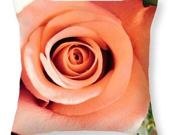 Peach Rose Throw Pillow by Artist Marian Palucci