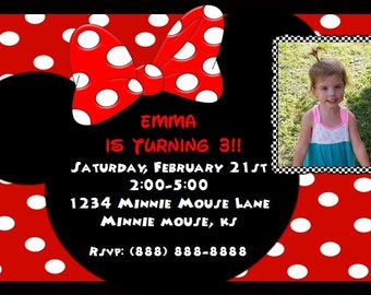 Minnie Mouse Picture Birthday Invitation