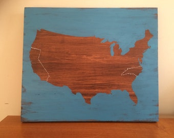 United States Map on Wood