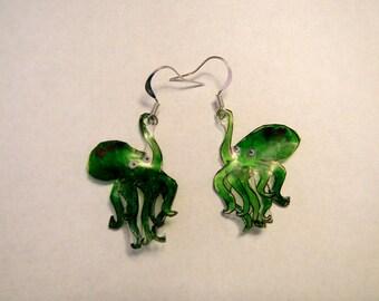 "octopus earrings, 100% recycled plastic ""shrinky dink"""