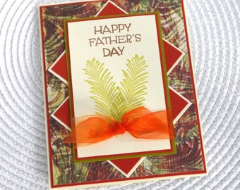 Handmade Greeting Card: Moss Green and Burnt orange multi layered Fathers Day with ribbon tie
