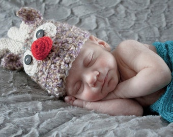 Infant Reindeer Hat~Baby Knit Hat~Knit Reindeer Hat~Newborn Hat~Photo Prop