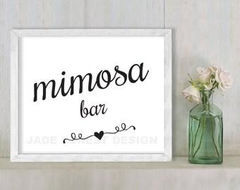 Mimosa Bar // Wedding Sign DIY // Elegant Calligraphy Printable Poster PDF // Classic Elegance ▷ Instant Download