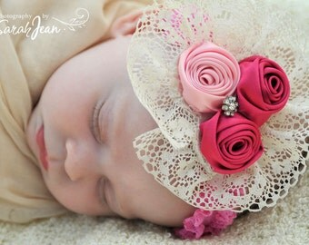 Baby Flower Headband -Lace Headband Rose Trio in Red and Cotton Candy Pink Phot Prop Baby Fascinator