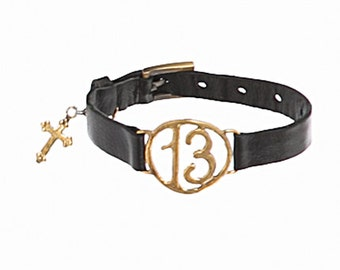 Gold 13 Black Leather Bracelet with Vintage Cross Charm
