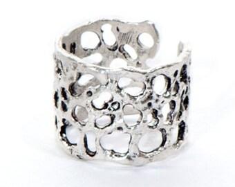 Silver Molten Lava Ring
