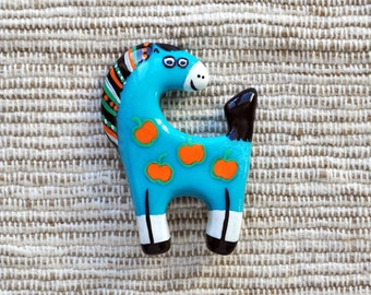 Turquoise charming brooch horse in apples Polymer clay Jewelry horse painted with acrylic paints Animal Brooch Pony brooch FREE SHIPPING
