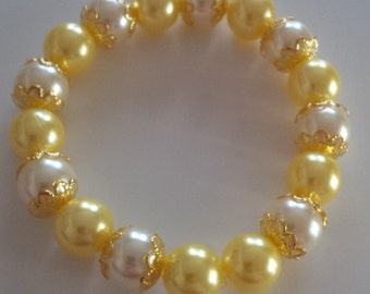 Yellow and White Beaded Bracelet  ( #48)