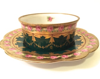 Antique Moritz Zdekauer (M.Z. Austria) Teacup and Saucer c1884