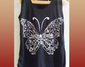Clearance Sale Butterfly tank top sleeveless top/ singlet/ black tee/ teen girl clothes size XS extra small