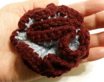 Burgandy Trim Crochet Flower
