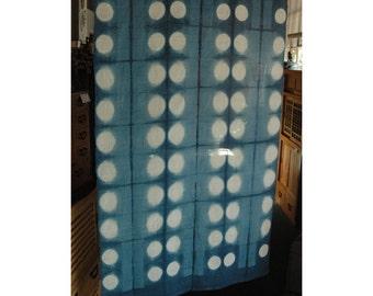 "traditional linen noren, door way curtain. geometrical light pattern on blue (MG122) 35""W x 59""L"