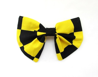 Checkered Hair Bow Hair Clip Girls Hair Clip Teens Hair Bow Adult Hair Bow Hair Accessories Hair Bow Hair Care Black And Yellow Hair Bow