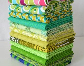 Green 12 designer cotton quilt fabric fat quarter bundle or half yards Stash Remix destash