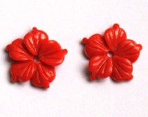 Coral resin carved flower 10 mm