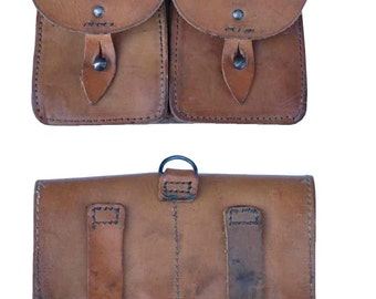 Vintage 60's French Army leather ammo double belt pouch