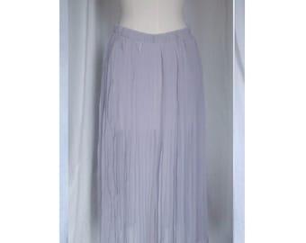 Transparent pleated grey long skirt