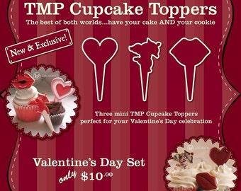 Cupcake Cookie Topper Cutters, Valentine Set - 3D Printed