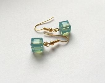 Earrings Swarovski gems turquoise