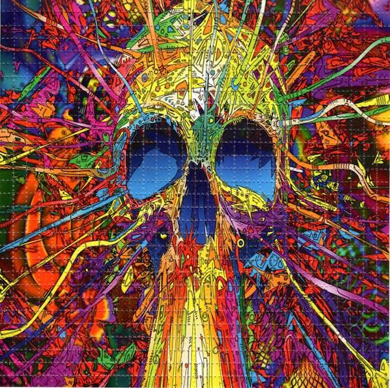 Skull Blast Blotter Art Perforated Acid Art Paper Kesey