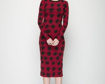 Ladylike body con dress - Cherrie black print