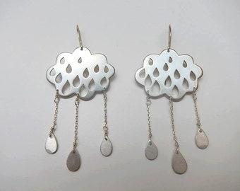 boucles d'oreilles nuages argent / cloudy silver earrings