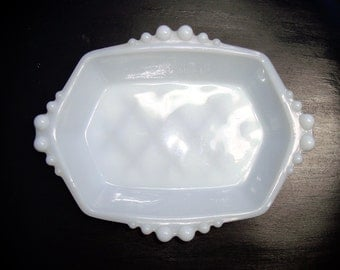 Vintage White Hexagon Shaped Milk Glass Dish with Bubble Edging