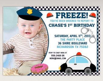 Police Birthday Party printable Photo invitation - Cops and Robbers Birthday Party Invitations #428