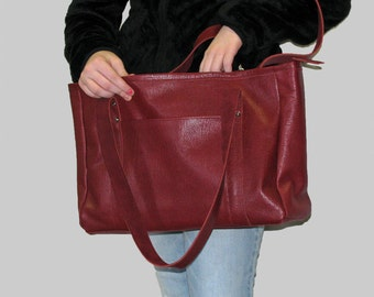 leather tote bag,burgundy leather tote,tote bag,leather handbag,burgundy leather bag,burgundy pebble leather shoulder bag