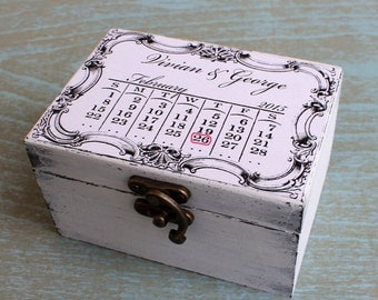 Ring Bearer Box Wedding Cottage Chic, Save the Date Wedding Box Customizable Calendar Box Personalized Natural Ring Bearer Wedding Box date