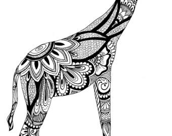 "Giraffe. 11""x17"". Print of Original Work"