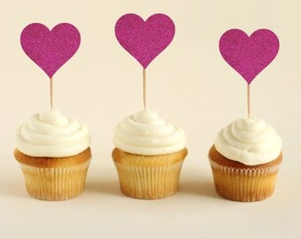 Heart Glitter Cupcake Toppers (Pack of 12)