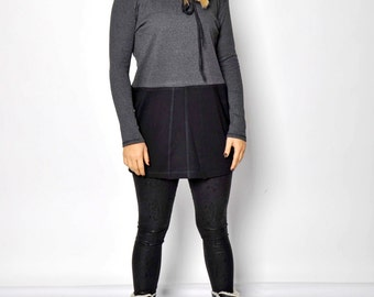 Black and gray tunic/Casual style/Woman gray tunic/ long sleeves/black gray tunic soft and gentle/ high quallity/T1435