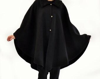 Maxi Black Wool Cape Coat/Oversize Cape/Woman Winter spring Cape/Black Woman Coat / Maxi cape/Extravagant coat cape Jacket made/C1337
