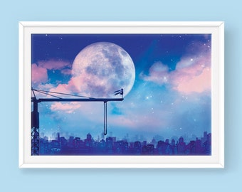 Vocaloid Miku Hatsune Poster: Last Night, Good Night, Anime Poster, Fantasy Poster, Vocaloid Poster, Night Poster