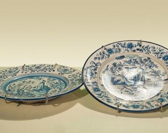 Pair of Decorative Blue Plates