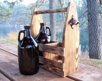 Handmade Rustic Cedar Beer Growler Carrier.  Wood Beer Bottle Carrier.  Bottle Opener.