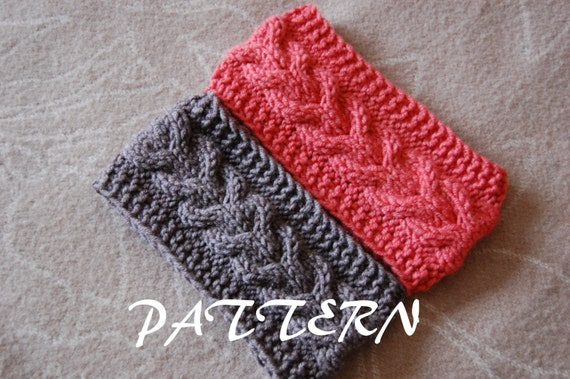 Knitting Pattern Cable Knit Headband : KNITTING PATTERN Cable Knit Headband Pattern by lulupattern