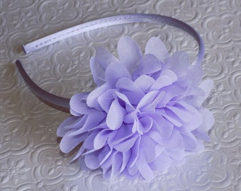 Handmade Lilac chiffon flower hard headband or hair-clip. Photo Prop for Babies/Toddlers/Teens/Girls/Women