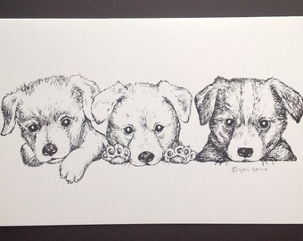 Mixed Breed Puppy Trio Art Print (Note Card)