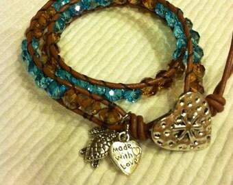 Swarovski lake blue and champagne leather double wrap bracelet