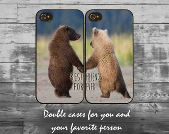 Double best friends iPhone cases - iPhone 4/4S, iPhone 5/5S/5C, iPhone 6/6+/6S/6S+ case - bff phone cover, bear friends double iPhone cases