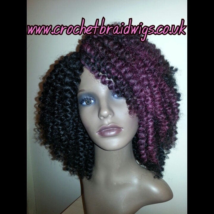 Crochet Braid Wig Black with burgundy and 99j by CrochetBraidWigs
