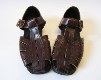 Vintage Mens Leather Sandals Brown Genuine Leather Huarache Sandals Open Sides Soviet Era Summer Shoes