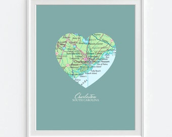 Charleston South Carolina  Heart Vintage Map ART PRINT, Charleston SC art map print, gift for couple,wedding gift, Christmas gift for her