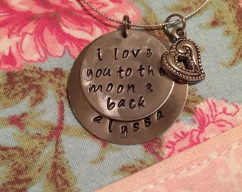 "Silver ""i love you to the moon and back"" handstanped necklace"